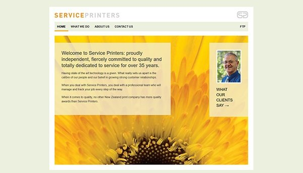 Image of the Service Printers website